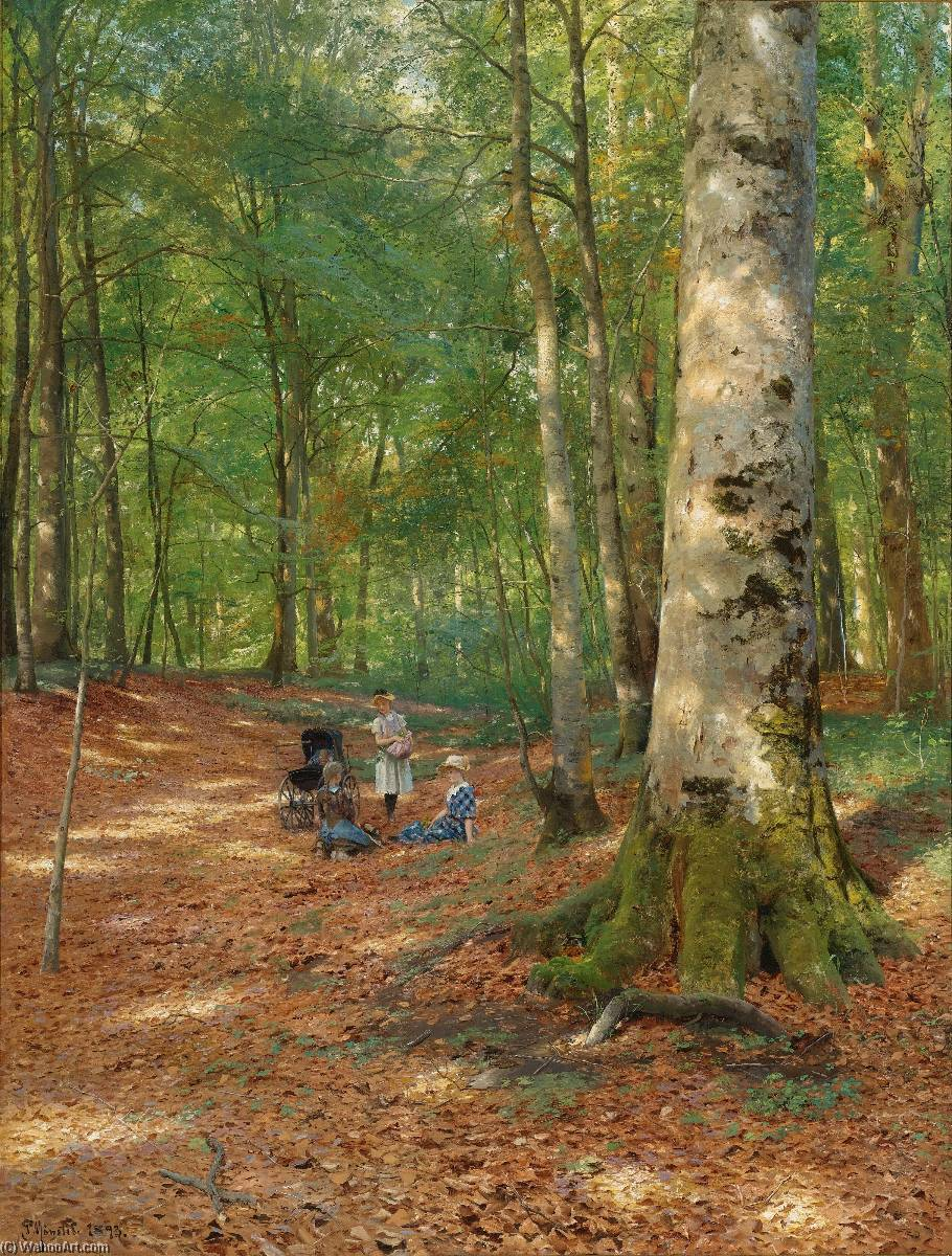 The woodland glade by Peder Mork Monsted (1859-1941, Denmark) | Paintings Reproductions Peder Mork Monsted | ArtsDot.com