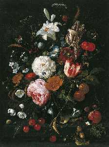 Jan Davidszoon De Heem - Flowers in a glass Vase w..
