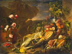 Jan Davidszoon De Heem - Fruit and a Vase of Flowe..