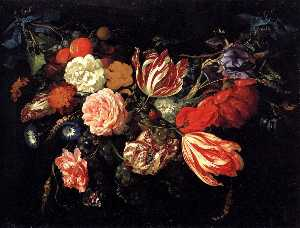 Jan Davidszoon De Heem - Festoon with Flowers and ..