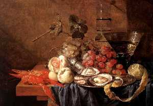 Jan Davidszoon De Heem - Fruits and Pieces of Seaf..