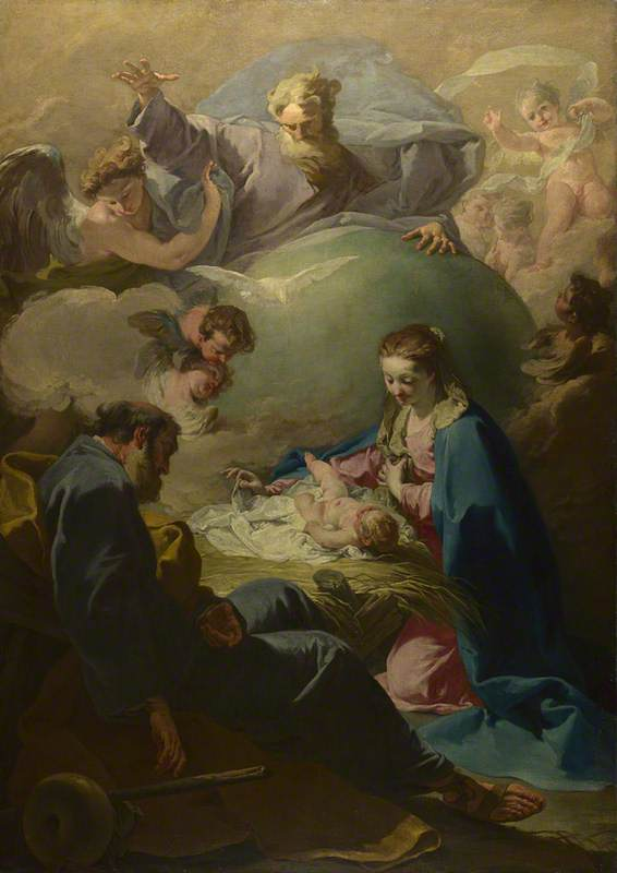 The Nativity with God the Father and the Holy Ghost, 1740 by Giovanni Battista Pittoni The Younger | Museum Quality Reproductions | ArtsDot.com