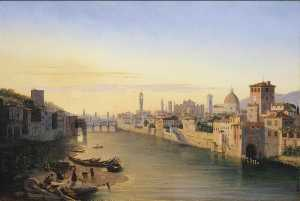 Antoine Marie Perrot - View of the River Arno at..