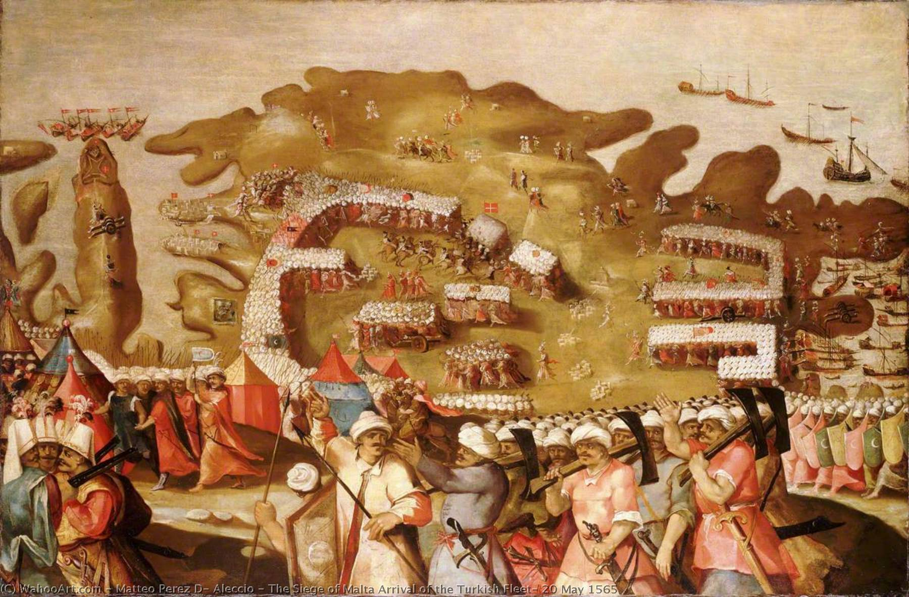 The Siege of Malta Arrival of the Turkish Fleet, 20 May 1565 by Matteo Perez D' Aleccio | Reproductions Matteo Perez D' Aleccio | ArtsDot.com