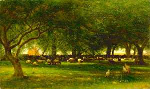 Thomas Worthington Whittr.. - Noon in the Orchard