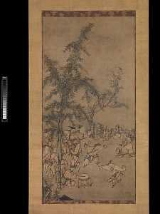 Sesson Shūkei - 竹林七聖図 Seven Sages of the ..