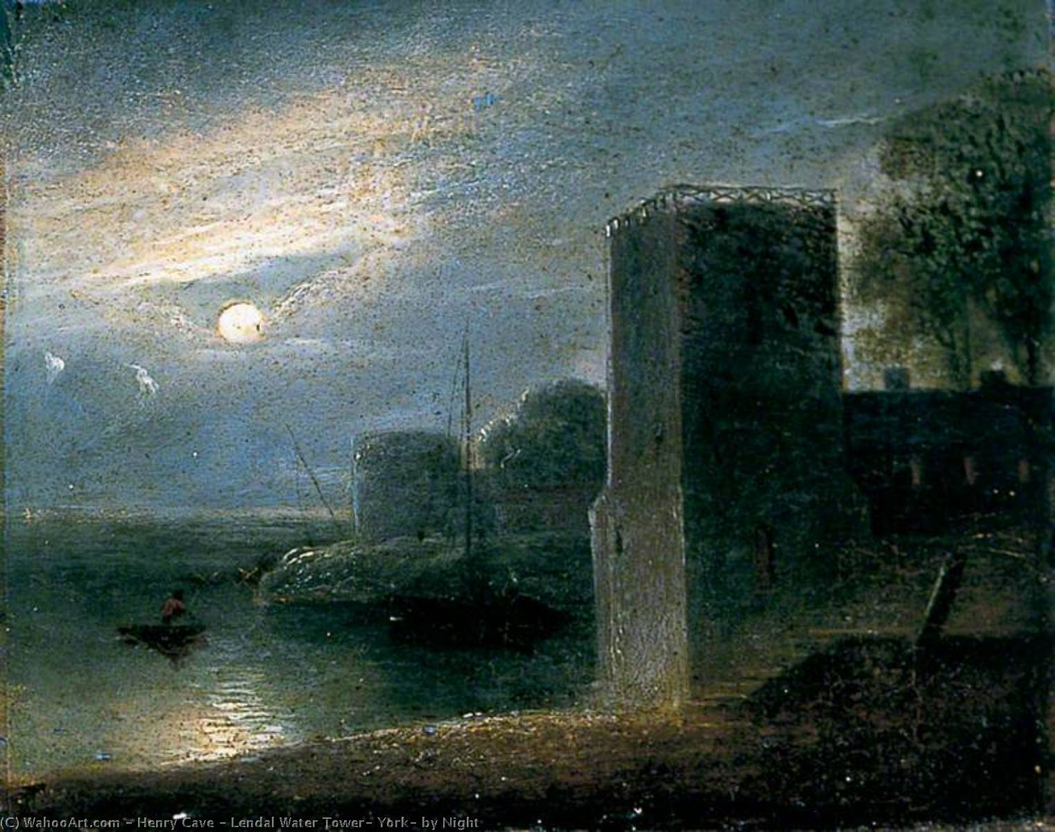 Lendal Water Tower, York, by Night by Henry Cave | Paintings Reproductions Henry Cave | ArtsDot.com