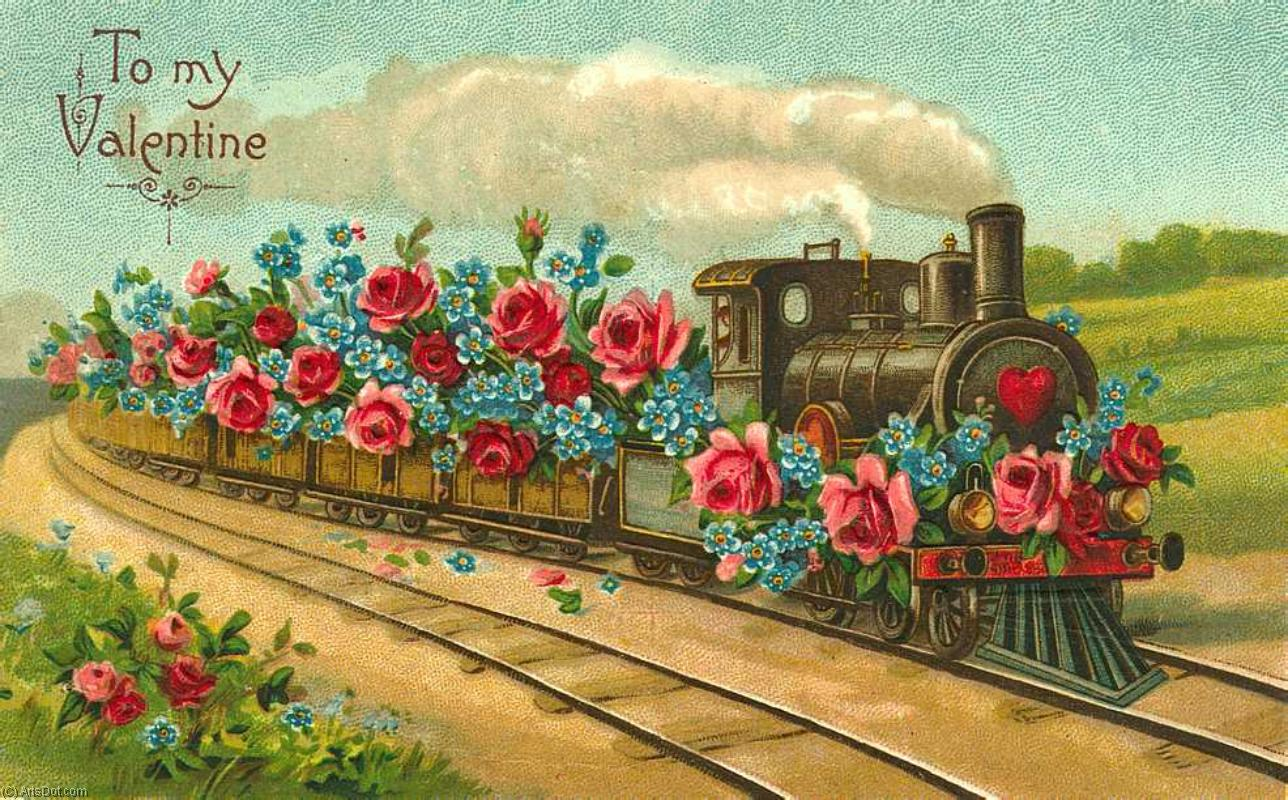 Днем рождения, открытка поезда