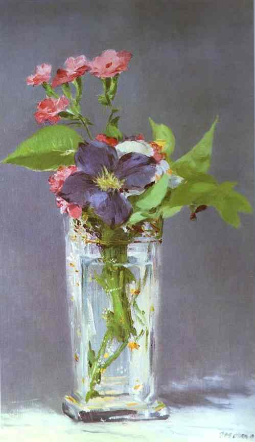 Clematis En Un Florero De Cristal Aceite De Edouard Manet