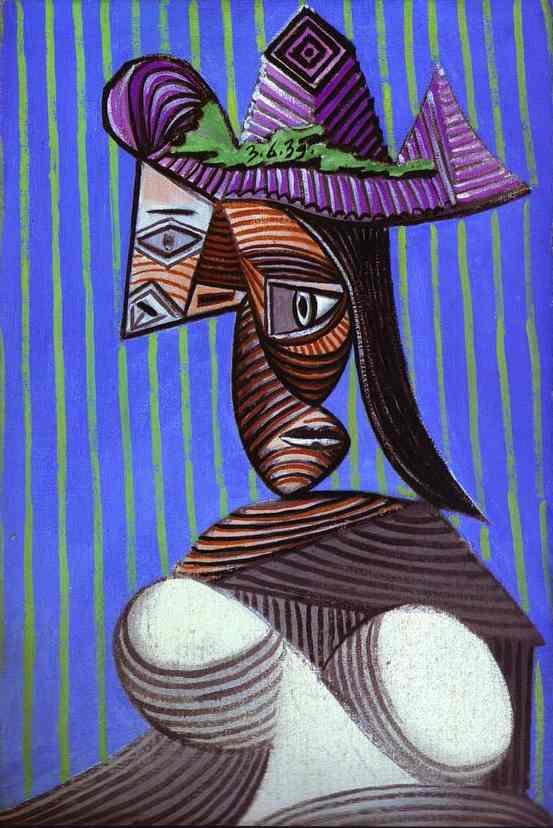 femme dans une dépouillé chapeau , Huile de Pablo Picasso (1881-1973 ...
