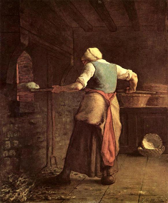 femme cuisson pain huile sur toile de jean fran ois millet 1814 1875 france. Black Bedroom Furniture Sets. Home Design Ideas