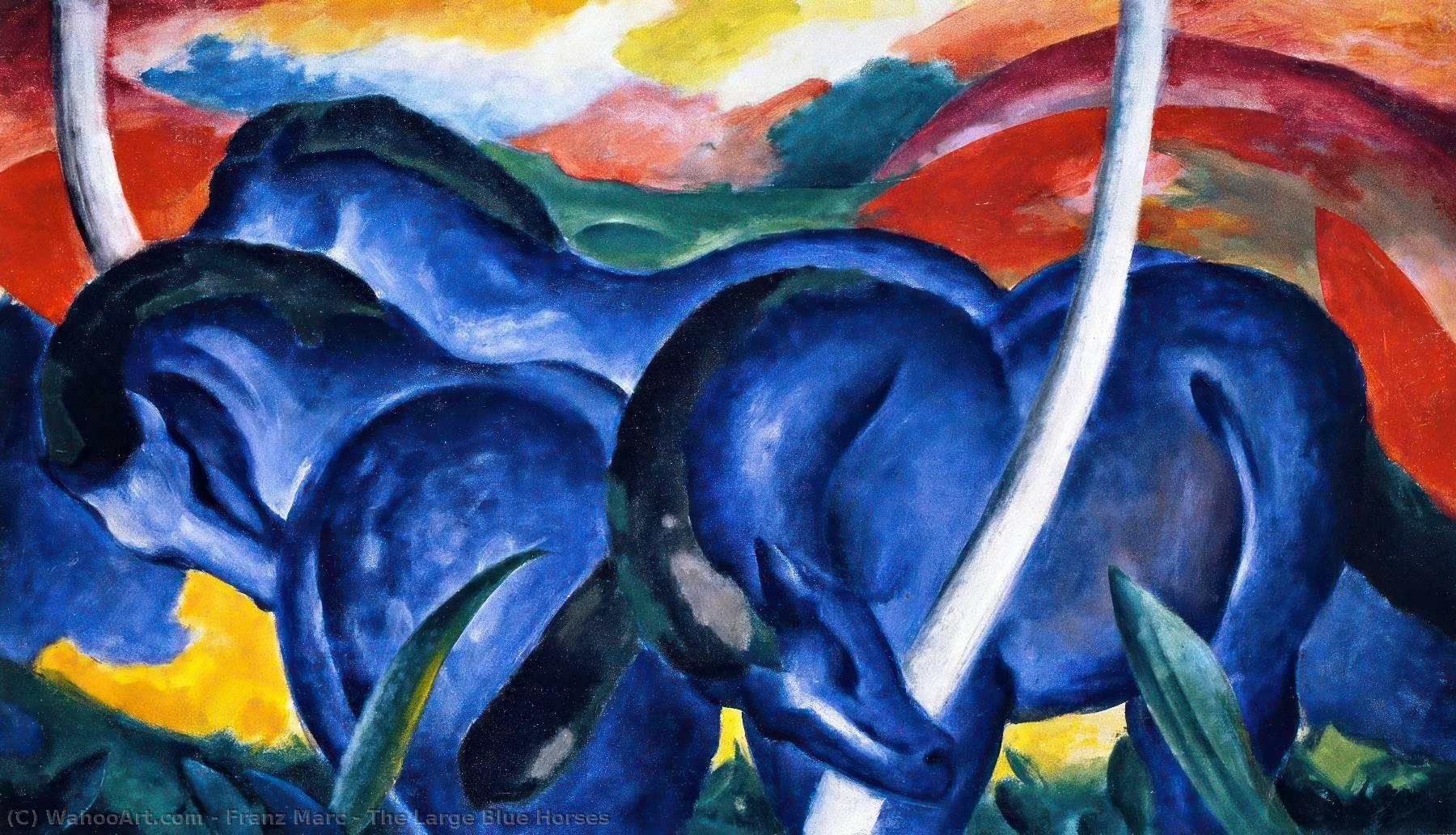 Eccezionale il di grandi dimensioni blu cavalli, olio su tela di Franz Marc  FX85