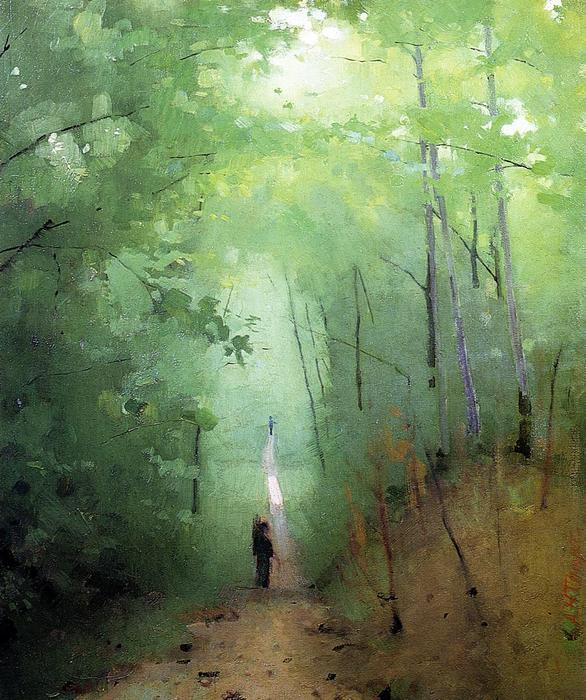 paysage à Forêt de Fontainebleau , peinture de Abbott ...