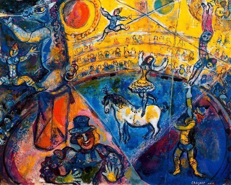 der zirkus l auf leinwand von marc chagall 1887 1985 belarus. Black Bedroom Furniture Sets. Home Design Ideas