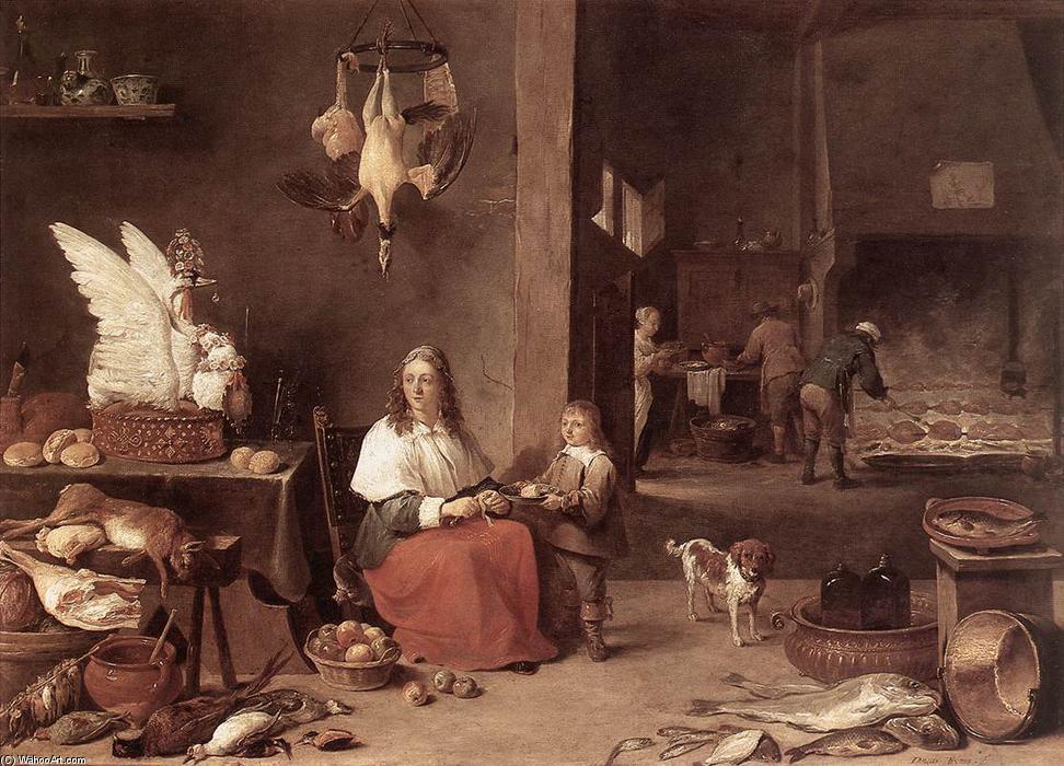 küche szene, öl auf kupfer von David The Younger Teniers (1610-1690 ...