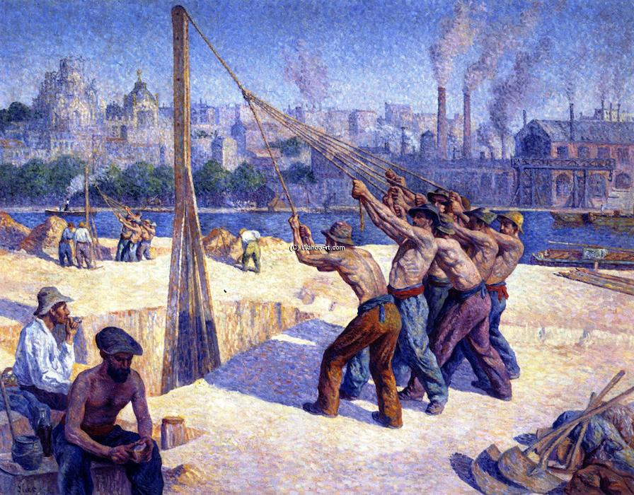 Die Pile Drivers, öl auf leinwand von Maximilien Luce (1858-1941 ...