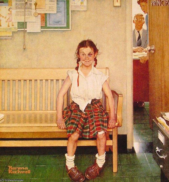 Resultado de imagem para Pintura de Norman Rockwell. Menina de olho roxo (1953).